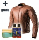 SHIMA HUNTER + BROWN - kurtka skórzana + Nova Bike Leather Cleaner&Protect GRATIS!
